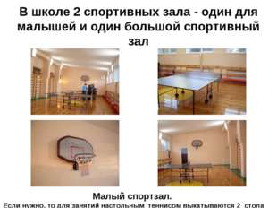 В школе 2 спортивных зала - один для малышей и один большой спортивный зал Ма
