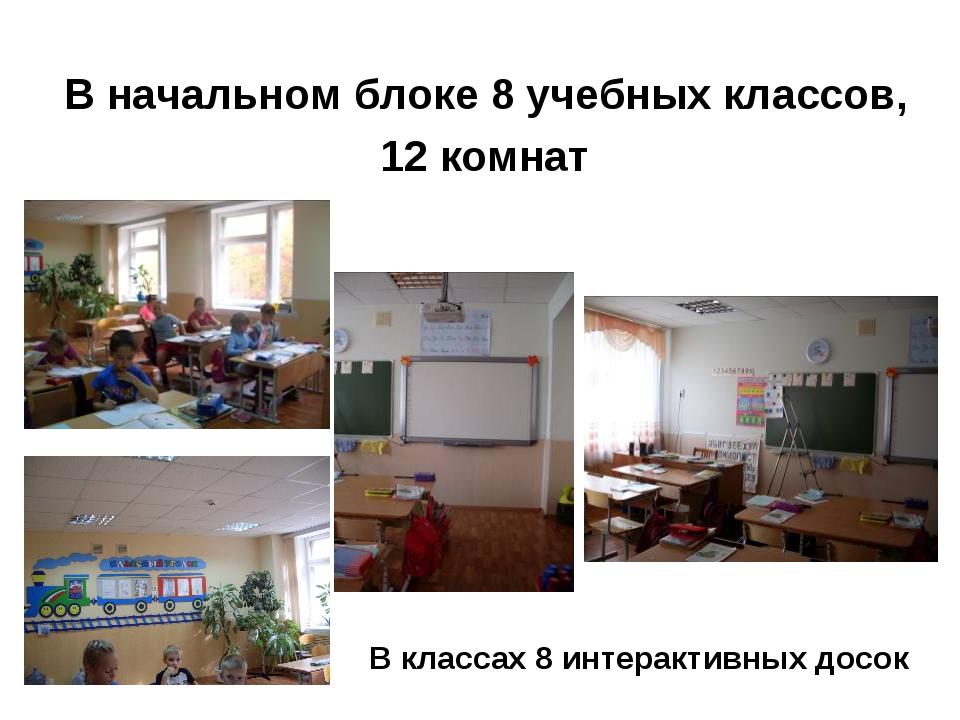 В начальном блоке 8 учебных классов, 12 комнат В классах 8 интерактивных досок
