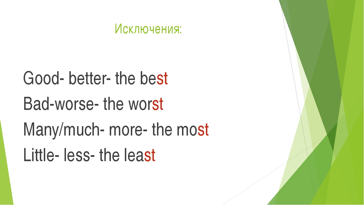 Исключения: Good- better- the best Bad-worse- the worst Many/much- more- the...