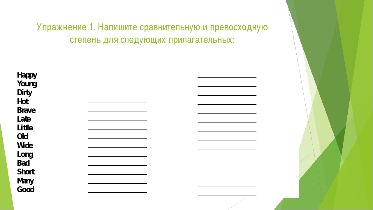 Упражнение 1. Напишите сравнительную и превосходную степень для следующих при...