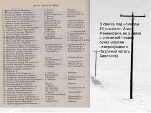 В списке под номером 13 значится Иван Менкенович, но в связи с опечаткой перв