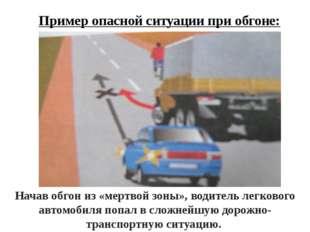 Пример опасной ситуации при обгоне: Начав обгон из «мертвой зоны», водитель л