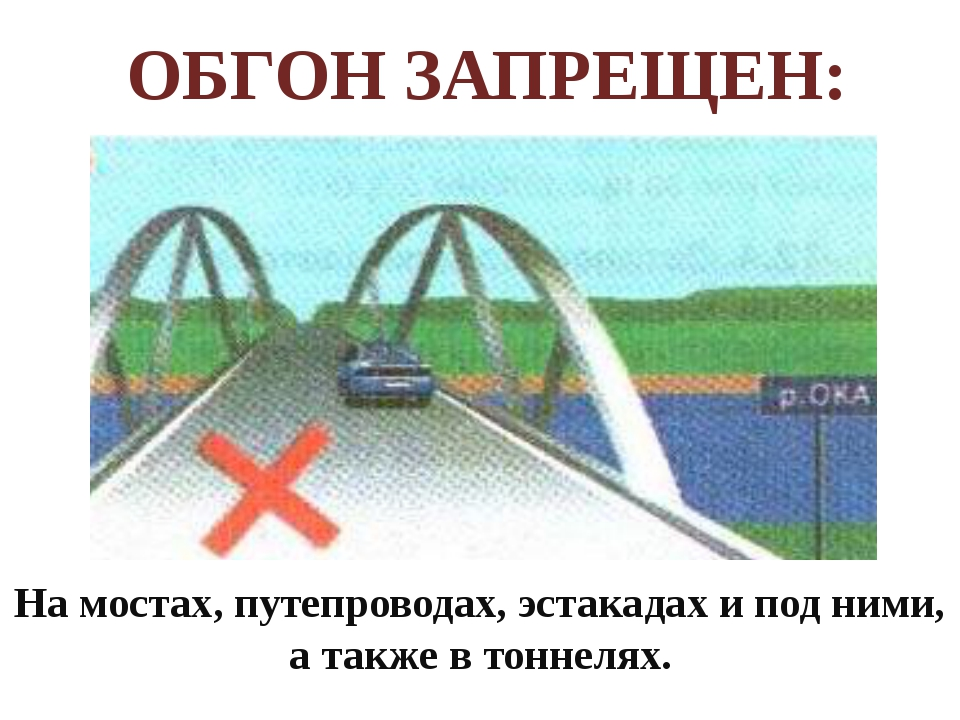 На мостах, путепроводах, эстакадах и под ними, а также в тоннелях. ОБГОН ЗАП...