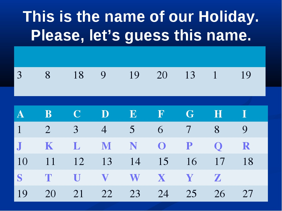 This is the name of our Holiday. Please, let's guess this name.  38...