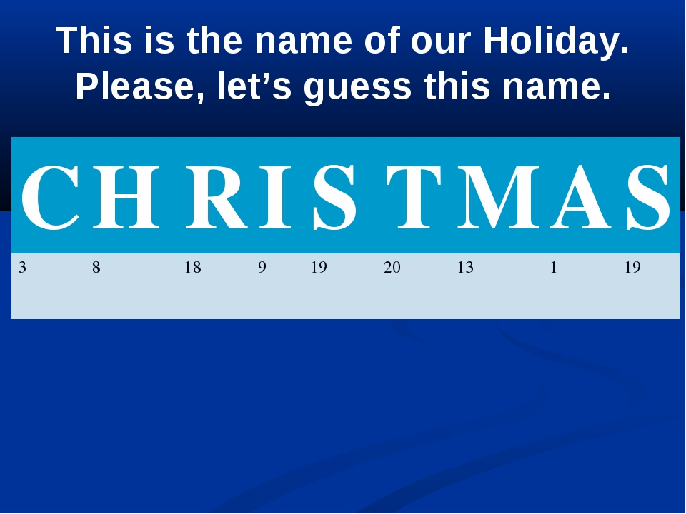 This is the name of our Holiday. Please, let's guess this name. CHRISTM...