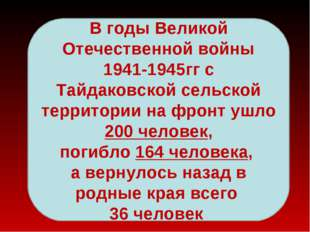 В годы Великой Отечественной войны 1941-1945гг с Тайдаковской сельской террит