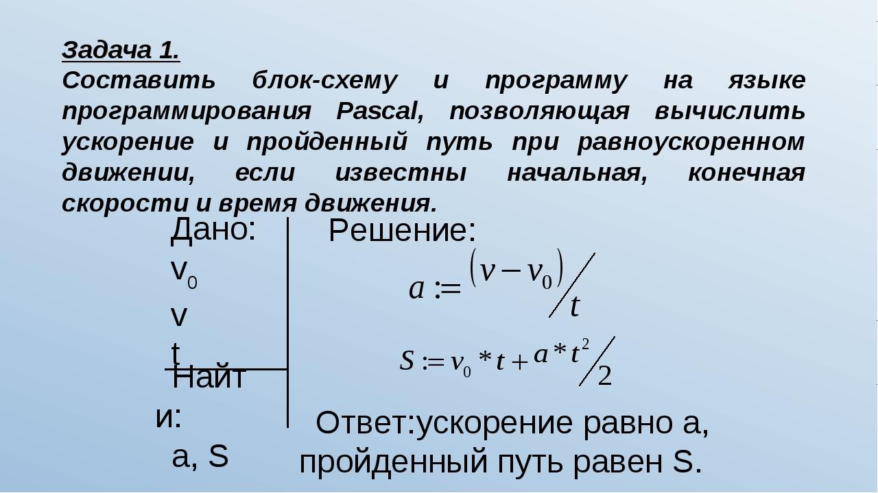 Решение задач по физике на паскале решение задачи в среде excel
