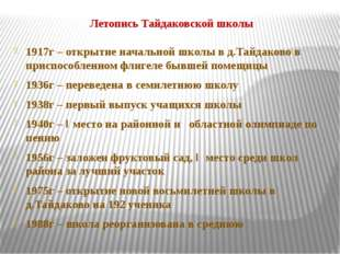 Летопись Тайдаковской школы 1917г – открытие начальной школы в д.Тайдаково в