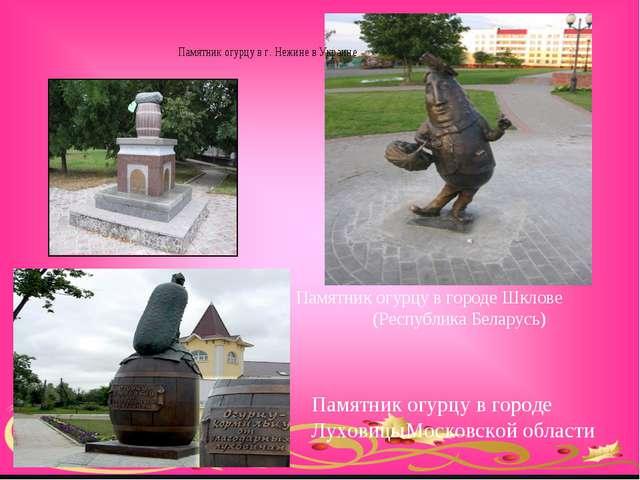 Памятник огурцу в городе Шклове (Республика Беларусь) Памятник огурцу в горо...