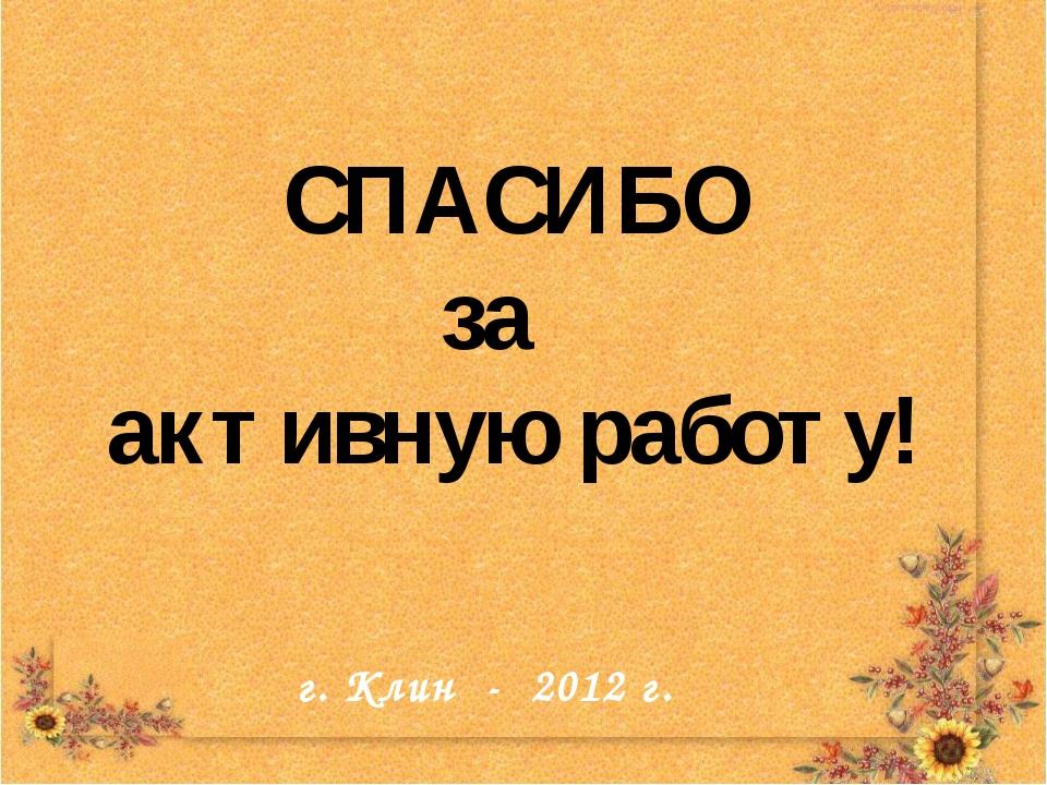 СПАСИБО за активную работу! г. Клин - 2012 г. г. Клин - 2012 г.