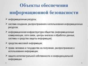 Объекты обеспечения информационной безопасности информационные ресурсы; систе