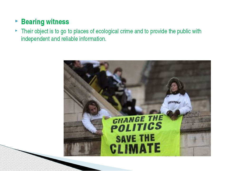 Bearing witness Their object is to go to places of ecological crime and to pr...