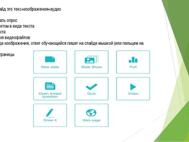 - Обычный слайд это текс+изображения+аудио - Слайд-шоу - Можно сделать опрос...