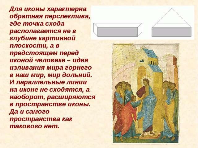 Для иконы характерна обратная перспектива, где точка схода располагается не...