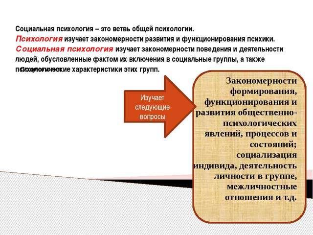 Социальная психология – это ветвь общей психологии. Психология изучает закон...