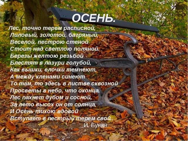 ОСЕНЬ. Лес, точно терем расписной, Лиловый, золотой, багряный, Веселой, пестр...