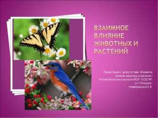 Презентация к уроку по теме «Взаимное влияние животных и растений» Учителя би