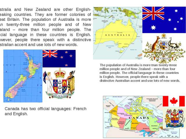 Australia and New Zealand are other English-speaking countries. They are form...