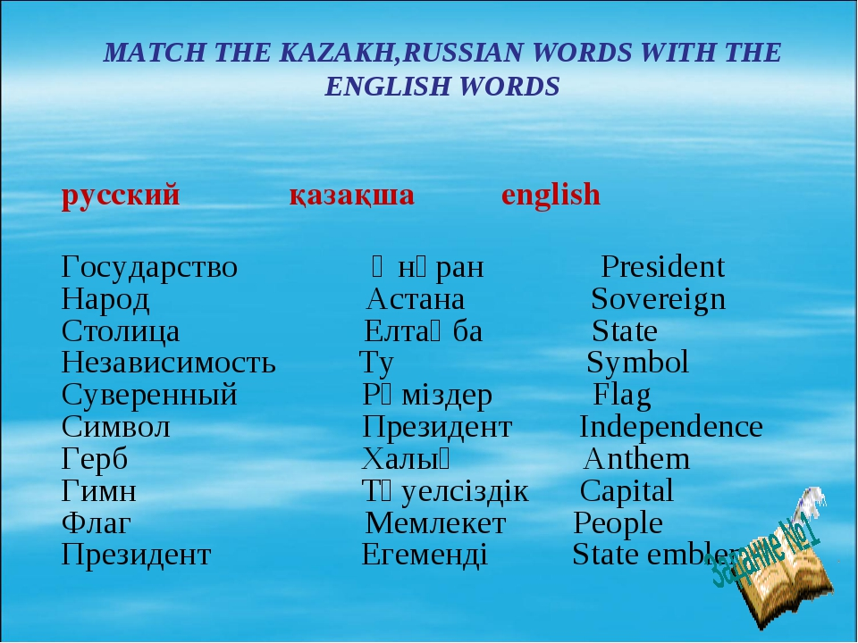 MATCH THE KAZAKH,RUSSIAN WORDS WITH THE ENGLISH WORDS русский қазақша englis...