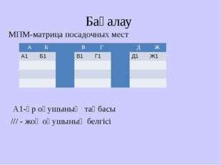 Бағалау МПМ-матрица посадочных мест А1-әр оқушының таңбасы /// - жоқ оқушының