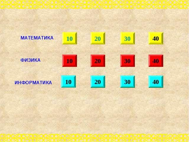 10 20 30 40 10 20 30 40 10 20 30 40 МАТЕМАТИКА ФИЗИКА ИНФОРМАТИКА