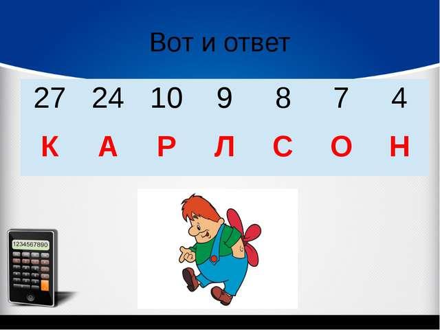 Вот и ответ 27 24 10 9 8 7 4 К А Р Л С О Н
