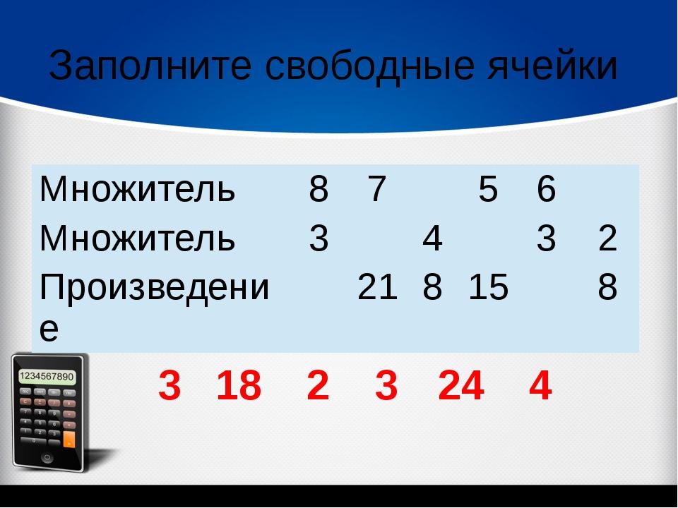 Заполните свободные ячейки 3 18 2 3 24 4 Множитель 8 7 5 6 Множитель 3 4 3 2...