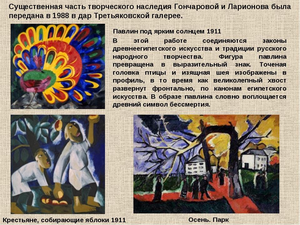 Существенная часть творческого наследия Гончаровой и Ларионова была передана...