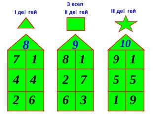 7 4 2 8 8 2 6 9 9 5 1 10 6 3 5 4 1 1 1 7 9 3 есеп І деңгей ІІ деңгей ІІІ деңгей
