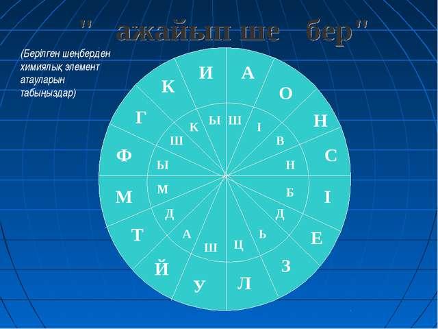 (Берілген шеңберден химиялық элемент атауларын табыңыздар)
