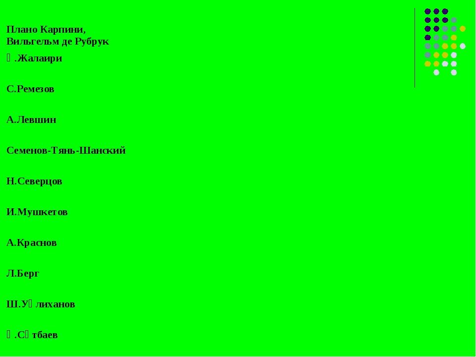 Қ.Жалаири С.Ремезов А.Левшин Семенов-Тянь-Шанский Н.Северцов И.Мушкетов...