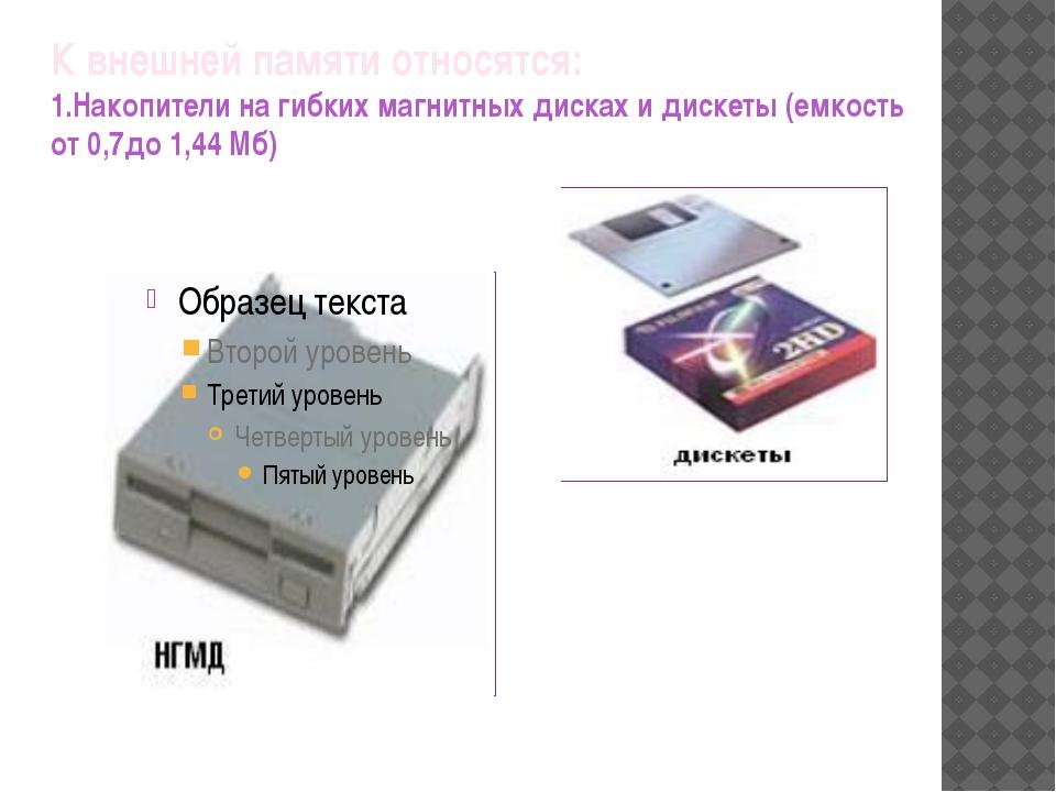 К внешней памяти относятся: 1.Накопители на гибких магнитных дисках и дискеты...