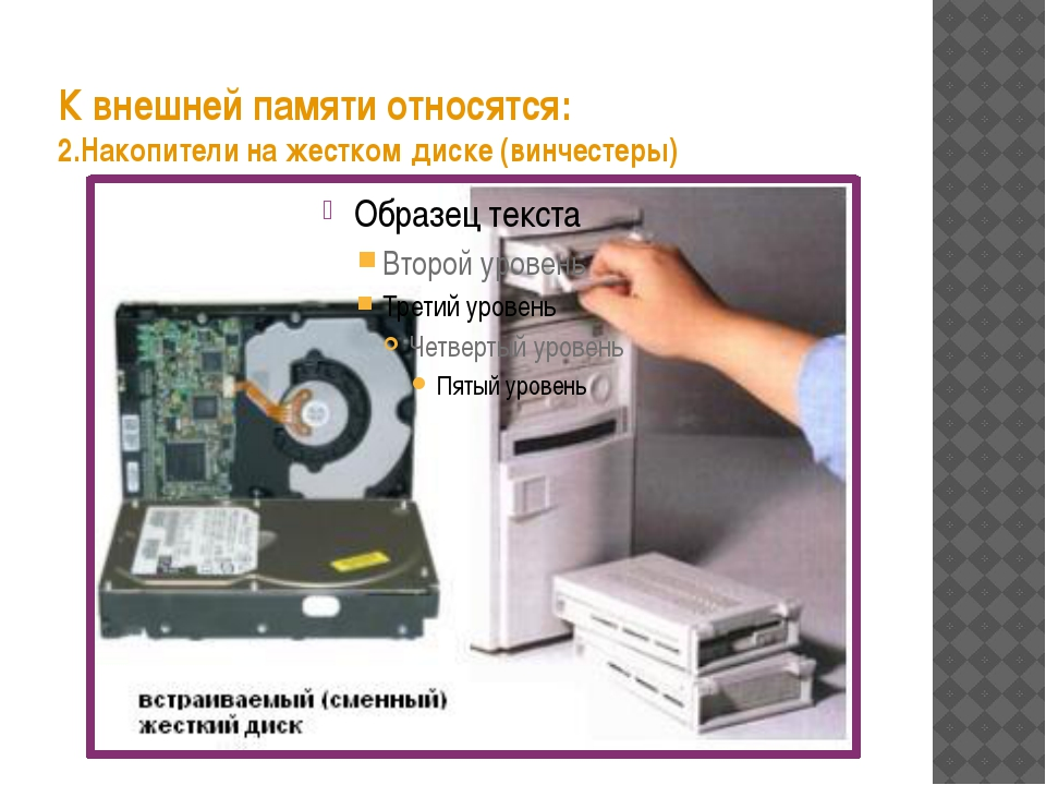 К внешней памяти относятся: 2.Накопители на жестком диске (винчестеры)