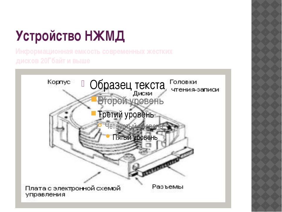 Устройство НЖМД Информационная емкость современных жестких дисков 20Гбайт и в...