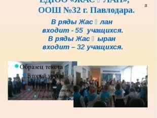 Количество учащихся вступивших в ЕДЮО «ЖАС ҰЛАН», ООШ №32 г. Павлодара. В ряд