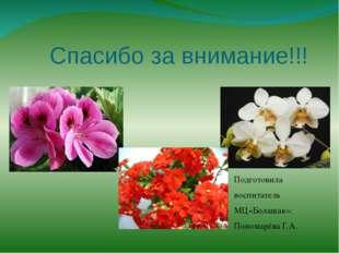 Спасибо за внимание!!! Подготовила воспитатель МЦ«Болашак»: Пономарёва Г.А.