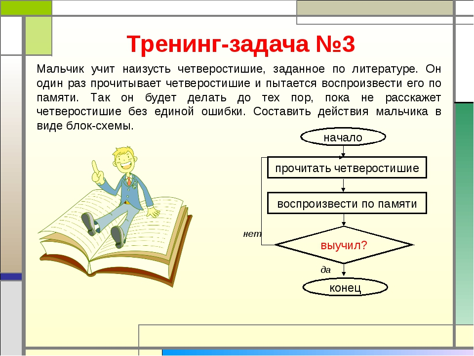 Тренинг-задача №3 Мальчик учит наизусть четверостишие, заданное по литературе...