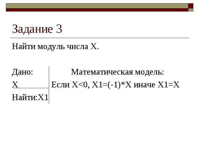 Задание 3 Найти модуль числа Х. Дано:Математическая модель: ХЕсли Х