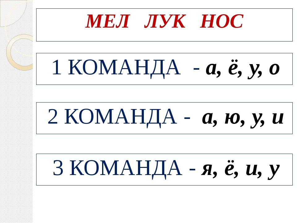 МЕЛ ЛУК НОС 1 КОМАНДА - а, ё, у, о 2 КОМАНДА - а, ю, у, и 3 КОМАНДА - я, ё,...
