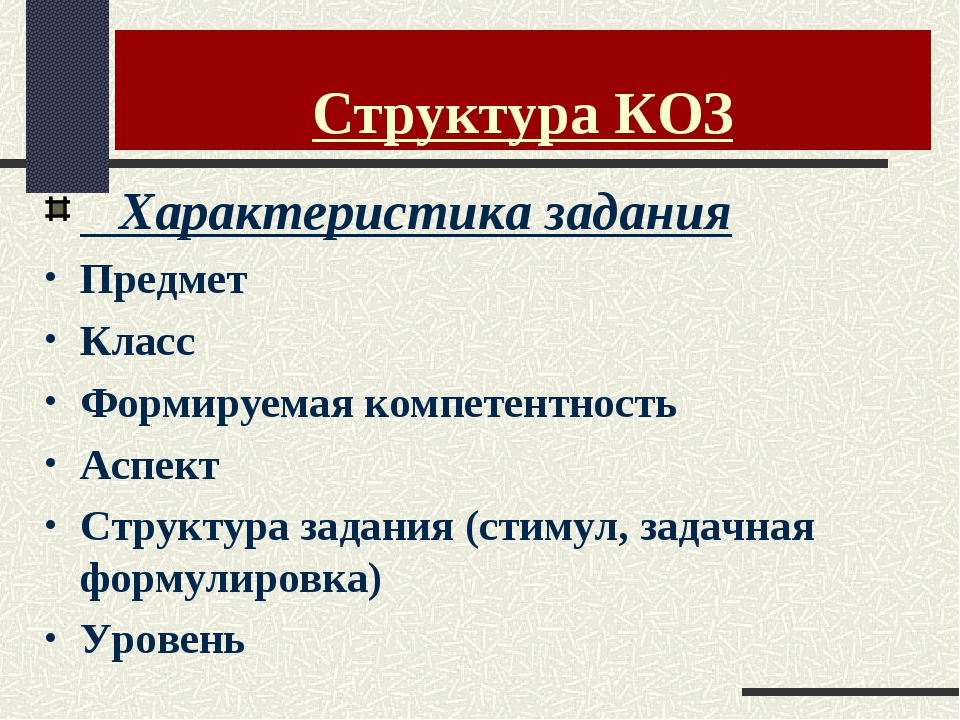 Структура КОЗ Характеристика задания Предмет Класс Формируемая компетентность...