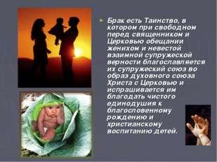 Брак есть Таинство, в котором при свободном перед священником и Церковью обещ