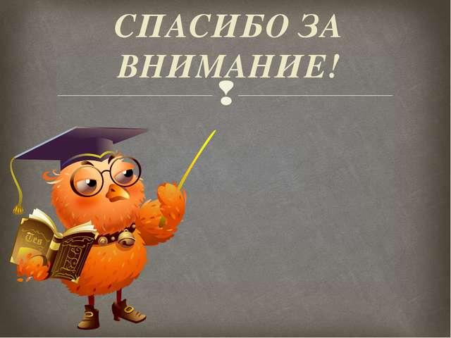 СПАСИБО ЗА ВНИМАНИЕ! Презентацию подготовила: учитель русского языка и литера...