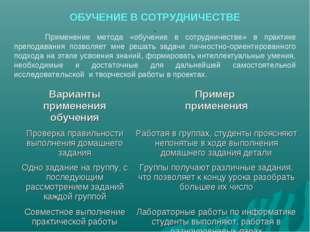 ОБУЧЕНИЕ В СОТРУДНИЧЕСТВЕ Применение метода «обучение в сотрудничестве» в пр