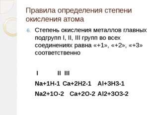 Правила определения степени окисления атома Степень окисления металлов главны
