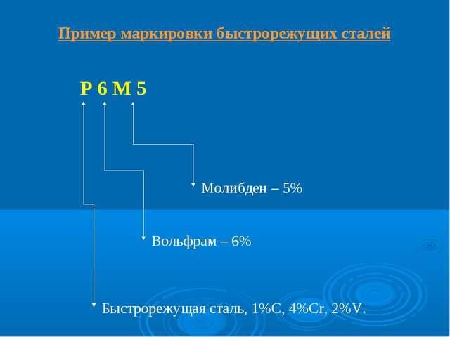 Пример маркировки быстрорежущих сталей Р 6 М 5 Быстрорежущая сталь, 1%С, 4%Cr...