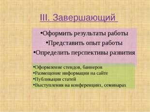 III. Завершающий Оформить результаты работы Представить опыт работы Определит