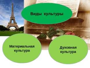 Виды культуры Материальная культура Духовная культура