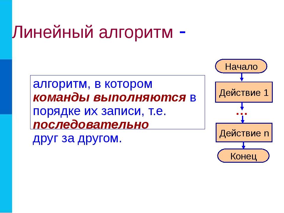 Линейный алгоритм - алгоритм, в котором команды выполняются в порядке их запи...
