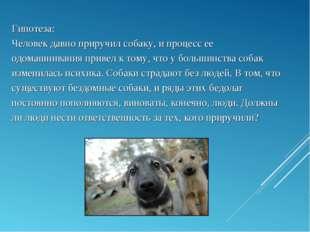 Гипотеза: Человек давно приручил собаку, и процесс ее одомашнивания привел к