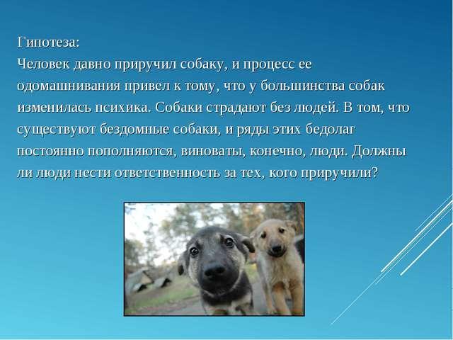 Гипотеза: Человек давно приручил собаку, и процесс ее одомашнивания привел к...